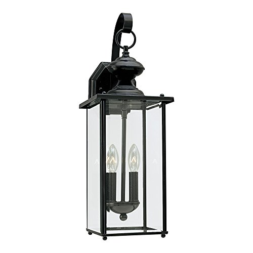 (Sea Gull Lighting 8468-12 Jamestowne Two-Light Outdoor Wall Lantern with Clear Beveled Glass Panels, Black Finish)
