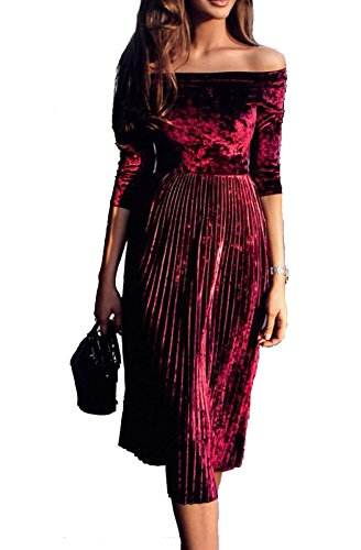 (Leezeshaw Womens Off Shoulder Boat Neck 3/4 Sleeve Empire Pleated Velvet A-line Midi Dress Wine X-Large)
