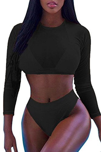 Laucote Womens Sexy High Waist Rash Guard Swimwear Long Sleeve 3PCS Swimsuit