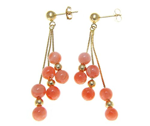 Genuine pink coral ball triple solid 14k yellow gold dangle earrings