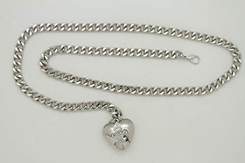 Women Hip Waist Silver Metal Chain Fashion Belt Love Heart Buckle Charm XS S M by RIX Fashion Luxury (Image #1)'