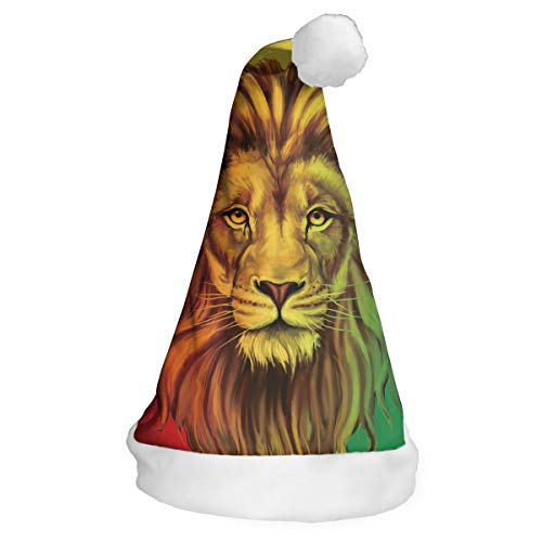 DFADS Christmas Hat Or Nice Festive Holiday Hat Velvet Santa Hat with Rasta Lion -