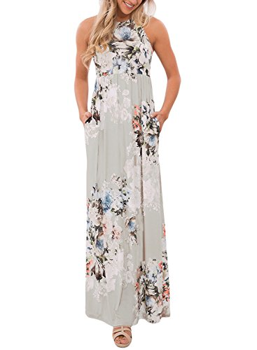 Dearlovers Women Floral Printed Sleeveless Racerback Long Maxi Casual Dress X-Large Size Gray - Gray Floral Dress