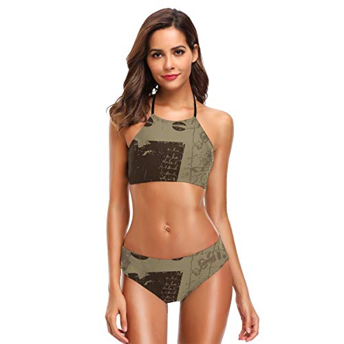 (Women's Two Piece Bikini Swimsuits,Grunge Weathered Mug Silhouette with Aromatic Java Beans for Breakfast M )