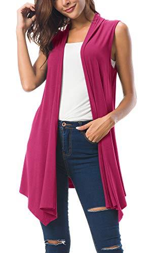 Women's Sleeveless Draped Open Front Cardigan Vest Asymmetric Hem (XL, Rose)
