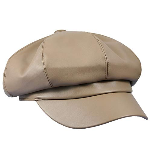 Leather Ladies Hats (moonsix Newsboy Hat,Plain Cabbie Visor Beret Gatsby Ivy Caps for Women,Khaki(PU Leather Style 2))