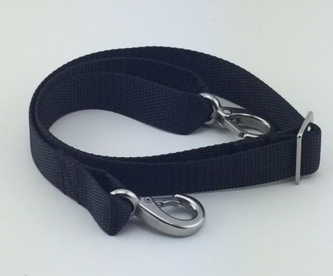 Bimini Strap (Bimini Top Strap with Double Snap Hook - Adjustable, Stainless Steel Hardware, Black or White (Black, 24