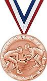 Wrestling Medals - 2'' Bronze Wrestling Team Medal Awards 5 Pack