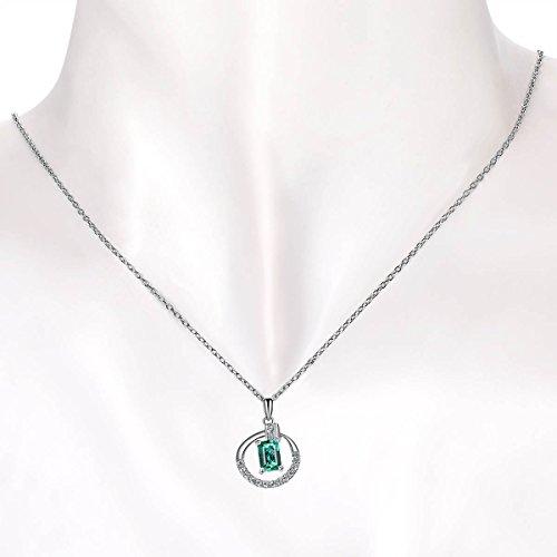 Hutang naturelle précieuse Émeraude et or blanc massif 18ct de diamant Clou Pendentif et collier pour femme Diamond-jewelry