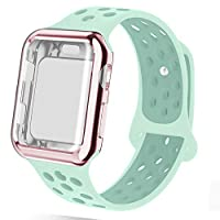 NUKELOLO Compatible for Apple Watch Band with Case 38MM 42MM 40MM 44MM,Dual-Color Soft Silicone Sport Wristband and TPU Case for iWatch Series 4/3/2/1