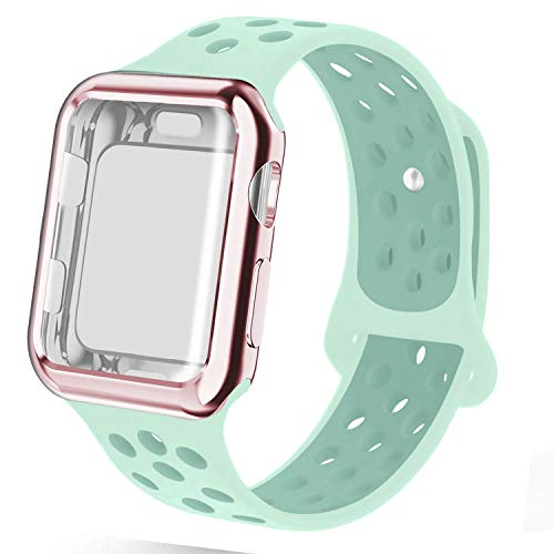 NUKELOLO Compatible for Apple Watch Band with Case,Dual-Color Soft Silicone Sport Band and TPU Case for Series 4/3/2/1[Teal-Tint Band with Rose Pink Case 38ML+38MM]