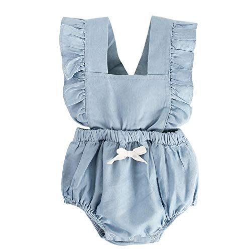 Clothes Blue Baby Top Onesie - BubbleColor Baby Girl Romper Ruffle Sleeve Jumpsuit Playsuit One Piece Cotton Bodysuit for Newborn Infant Toddler Outfit Princess Clothes (0-6 Months, Blue)