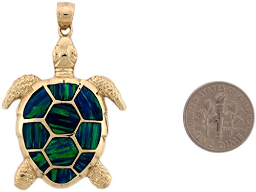 14k Yellow Gold Gorgeous Lined Blue Green Simulated Opal Sea Turtle Pendant by Jewelry Liquidation (Image #2)