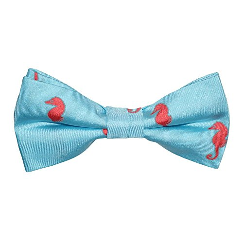 Kids Bow Tie - Coral on Light Blue, Printed Silk, Kids Pre-Tied (Printed Bow Tie)