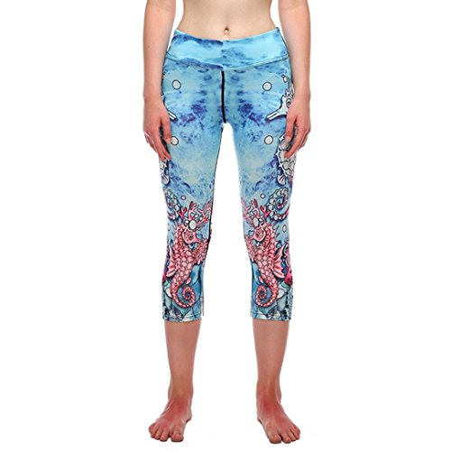 (GBSELL Women 3/4 Length Sea World 3D Print Skinny Sexy Leggings Yoga Pants Workout Clothes (Sea Animal, M))