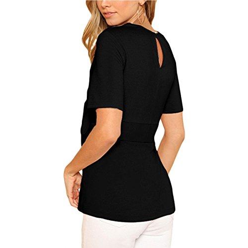 T Courtes Rond Femmes Shirt Manches Ceinture Taille Col Basique T avec Shirts D't Black Chemisier nBxvwxqRT