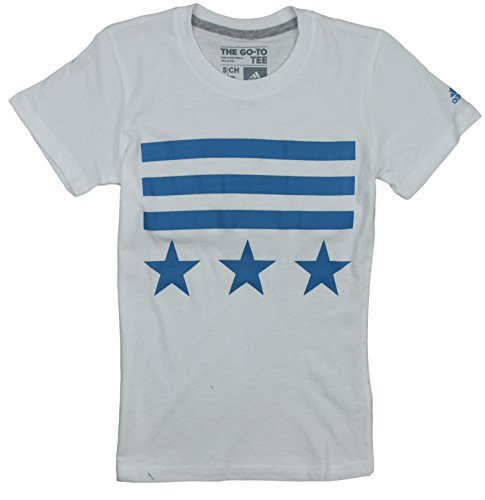 adidas Big Girls Bars and Stars Short Sleeve Tee (Medium (10/12), White/Blue)