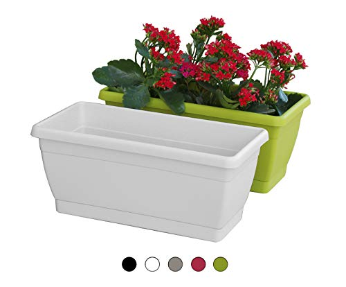 TABOR TOOLS Plastic 16 Inch Window Box Planter with Attached Saucer, for Indoor and Outdoor Use, Rectangular. VER503A. (Ivory White)