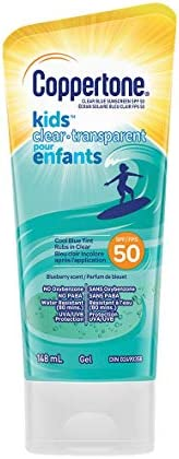 Coppertone Kids Clear Sunscreen Gel Spf 50Water Resistant Body Lotion Rubs In Clear With A Cool Blue Tint, Blu