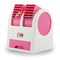 New Frabgrance Adjustable Angles Dual Air Outlet Fan USB Electric Air Conditioning Fan Cooling Desktop Portable Bladeless Blower Mini Cooler Fan with USB Socket Battery and Safety Switch Chip (Rose)