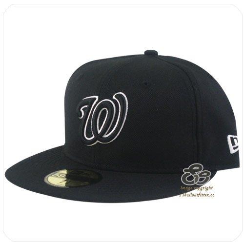 New Era 59Fifty Men's Hat Washington Nationals Black/White Fitted Headwear Cap (7 1/8)