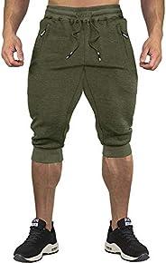 CRYSULLY Men's 3/4 Joggers Pants Workout Capri Shorts Below Knee Short Pants Zipper Poc