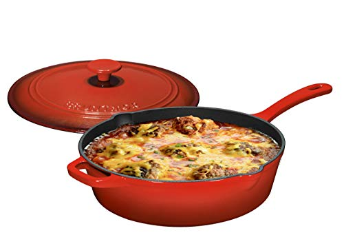 Enameled Cast Iron Skillet Deep Sauté Pan with Lid, 12 Inch, Fire Red, Superior Heat Retention by Bruntmor (Image #4)