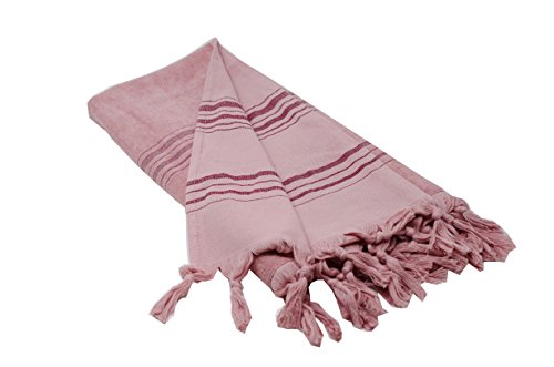 Large Turkish Towel with Soft Terryback, Striped Peshtemal T