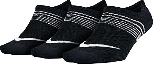 NIKE Women's Everyday Plus Lightweight Footies (3 Pairs), Black/White, (Womens Footies)