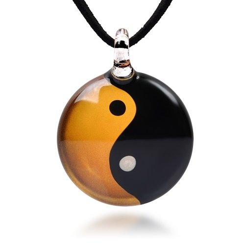 Chuvora Hand Blown Venetian Murano Glass Yin Yang Symbol Gold Black Round Pendant Necklace, 18-20 inches
