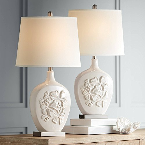 Ewan Country Cottage Table Lamps Set of 2 Ceramic Ivory White Oval Shade for Living Room Family Bedroom Bedside Nightstand - Regency Hill