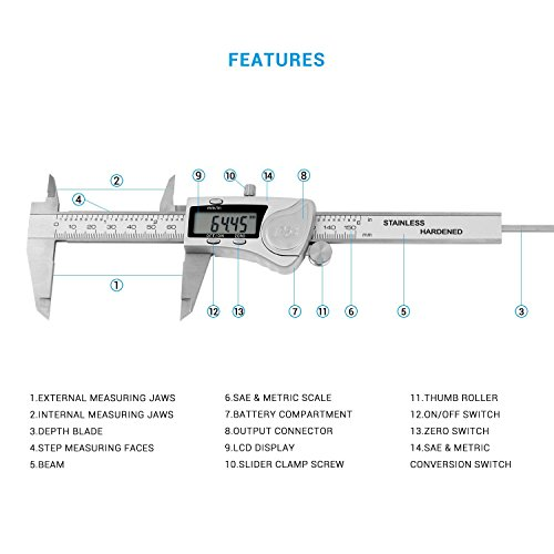 Digital Caliper, LIUMY Professional 6''/150mm Electronic Digital Vernier Caliper with LCD Screen, IP54 Water Resistant and Inches and Metric Easy for Measurement Work silver white Photo #3
