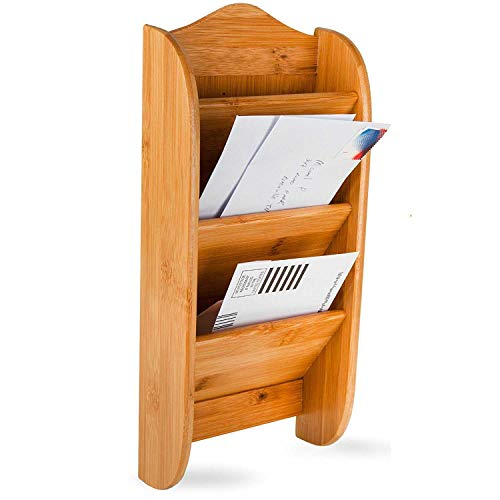 Home Intuition 3-Tier Wall Mount Bamboo Mail Organizer Letter Holder Rack ()