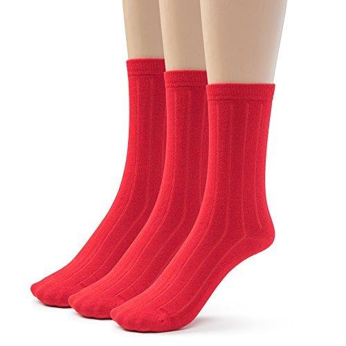 (Silky Toes 3 Pairs Mens Bamboo Ribbed Dress Socks, Casual Basic Socks (9-11, Red (3 Pairs)))