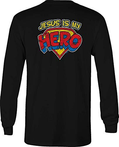 Hoody Jesus Long Sleeve T Shirt Men My Hero Superman Graphic Tee - Small Black -