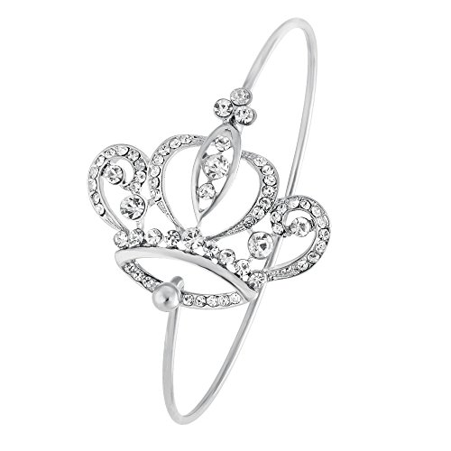 NOUMANDA Imperial Crystal Crown Bangle Bracelet for Queen (Silver)