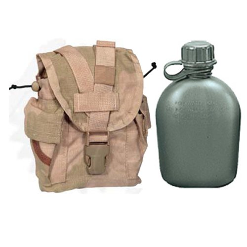 Military Outdoor Clothing Never Issued U.S. G.I. 1 quart Olive Drab Military Canteen with Previously Issued U.S. G.I. 1 quart Desert MOLLE Canteen/General Purpose Pouch by Military Outdoor Clothing
