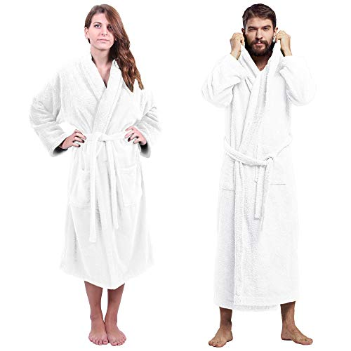 Towel Bazaar 100% Turkish Cotton Luxury Terry Shawl Collar Soft Spa Bathrobes for Women and Men (White, Large-One Size)