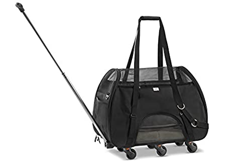 WPS Airline Approved Removable Wheeled Pet Carrier for Small Pets. Upgraded Structural Design For Ultimate Strength, Features Mesh Panels & Plush Mat. Compact and Durable. ()