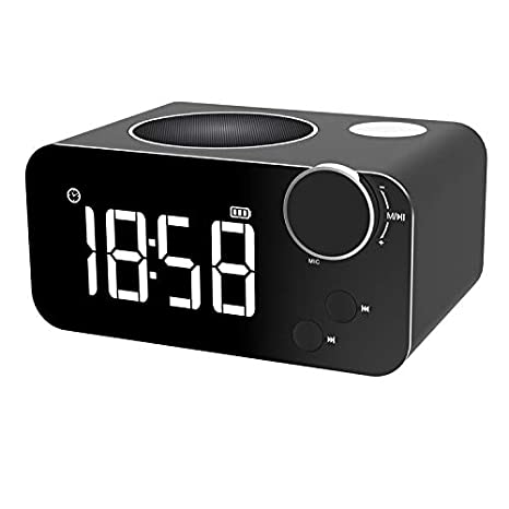 Alarm Clock FM Radio Bluetooth Speaker for Bedrooms Wireless Portable Bedside Speaker LED Alarm Clock Built-in Micro Support TF Card AUX with USB ...