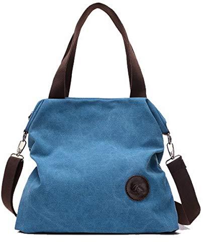 Borse Shopping WeiPoot a EGHBG181401 donna Zippers per Blu Handbags Canvas tracolla Clutch Picnic r5U1q1ZOI