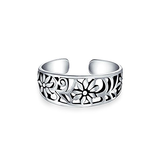 Floral Toe Ring (Bling Jewelry Adjustable Mid Finger Ring Flower 925 Silver Toe Rings)