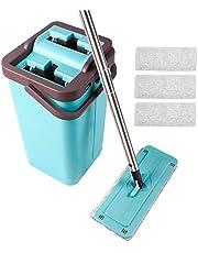 Ensemble de seau plat pour vadrouille à sec et système de nettoyage de seau avec 4 tampons de vadrouille en microfibre plats lavables pour le nettoyage de la salle de bain/cuisine/bureau à domicile