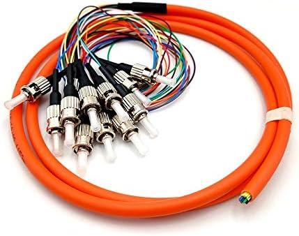 FMNHT 1pc ST 12 Core Multimode Fanout aanstralingsvezel hoge kwaliteit Fiber Optische Patch Cord Size1M