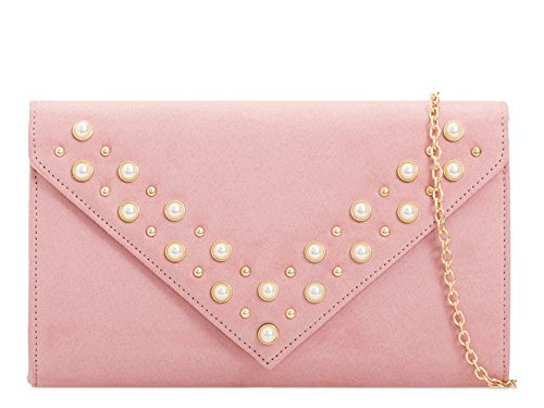 Suede Bag Pearl Diamante Detail Envelope Blush Clutch Evening Women's Faux OAqUP