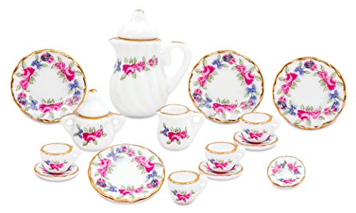(Zamonji 17pcs Dollhouse Miniature Teapot Cup Dish Set - 1/12 Scales Pink)