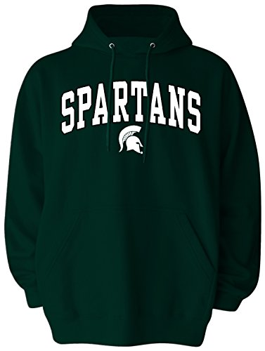 Michigan College Applique - Old Varsity Brand NCAA Michigan State Spartans Pullover Hood, Small, Spartan Green