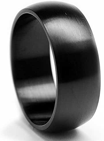 8MM Black Stainless Steel Dome Brushed Ring Sizes 7 to 15