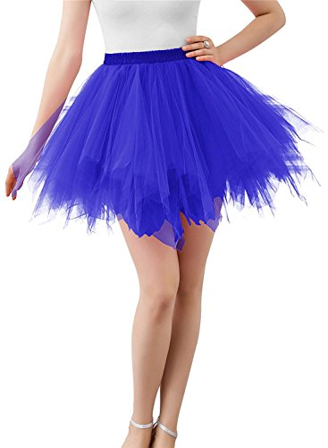 Adult Women 80's Plus Size Tutu Skirt Layered Tulle Petticoat Halloween Tutu Royal Blue (Cool 80's Halloween Costumes)