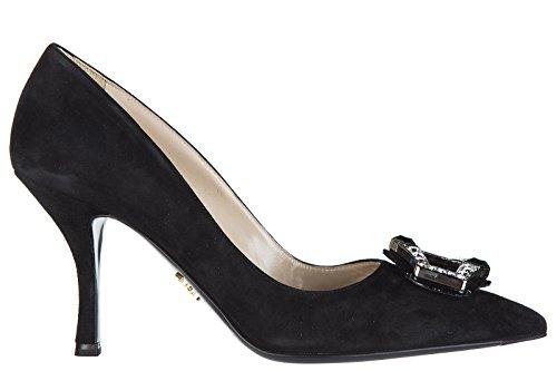 Prada Suede Heels (Prada Women's Suede Pumps Court Shoes High Heel Jewels Black US Size 7 1I722H 812 F0002)
